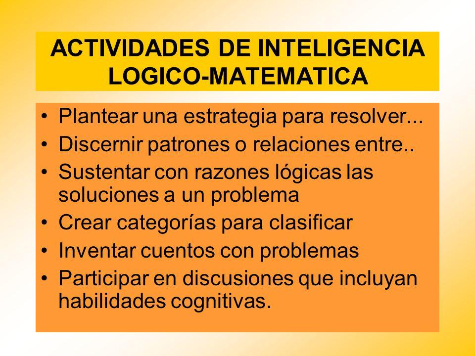 ACTIVIDADES DE INTELIGENCIA LOGICO-MATEMATICA