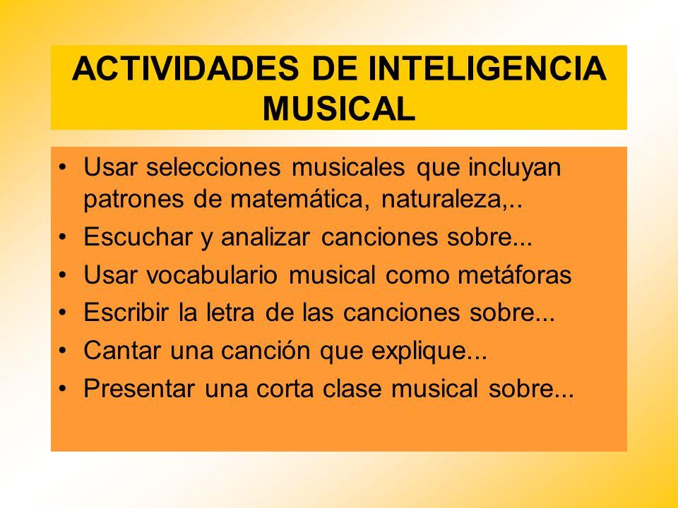 ACTIVIDADES DE INTELIGENCIA MUSICAL