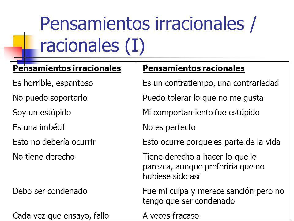 Pensamientos irracionales / racionales (I)