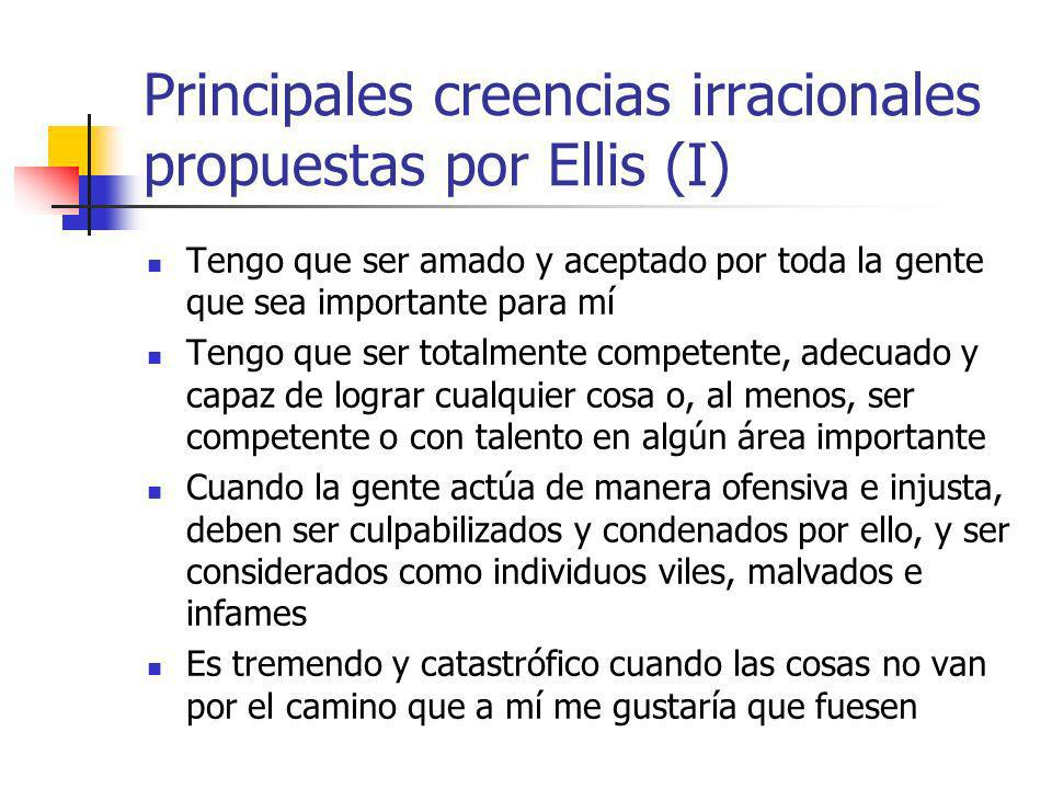 Principales creencias irracionales propuestas por Ellis (I)