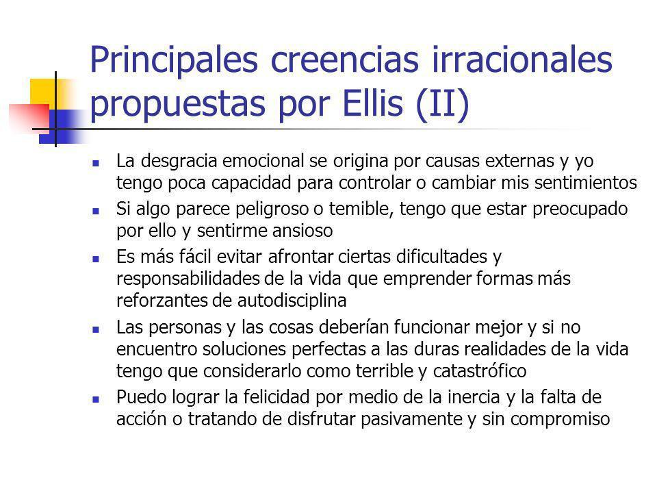 Principales creencias irracionales propuestas por Ellis (II)