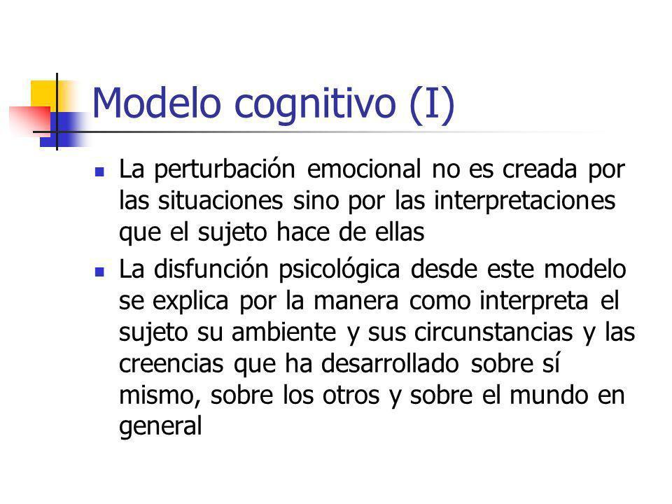 Modelo cognitivo (I) La perturbación emocional no es creada por las situaciones sino por las interpretaciones que el sujeto hace de ellas.