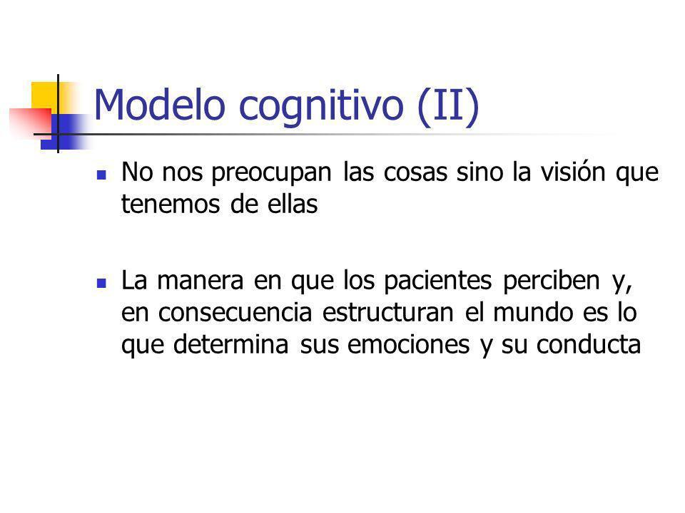 Modelo cognitivo (II) No nos preocupan las cosas sino la visión que tenemos de ellas.