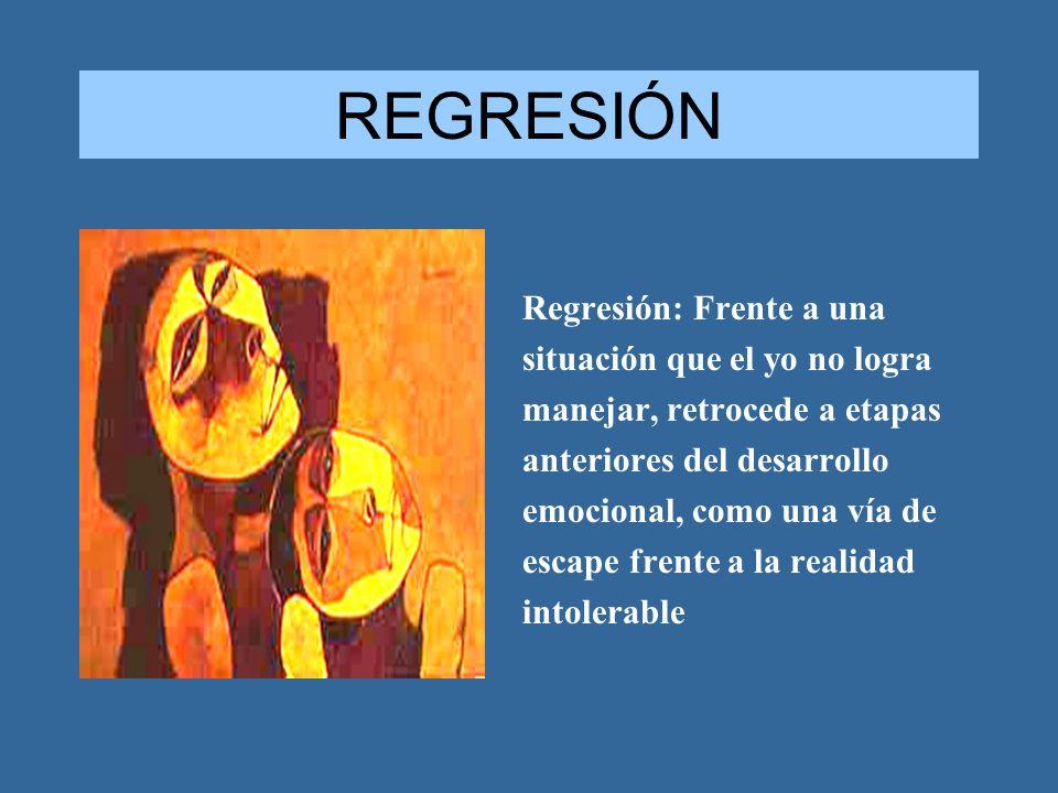 REGRESIÓN Regresión: Frente a una situación que el yo no logra