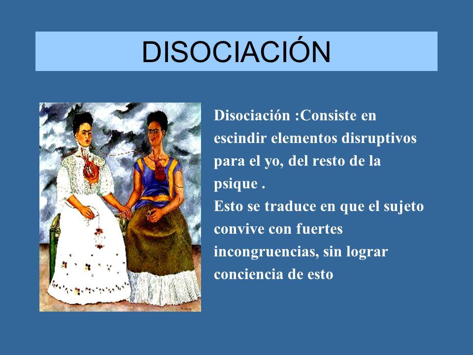 DISOCIACIÓN Disociación :Consiste en escindir elementos disruptivos