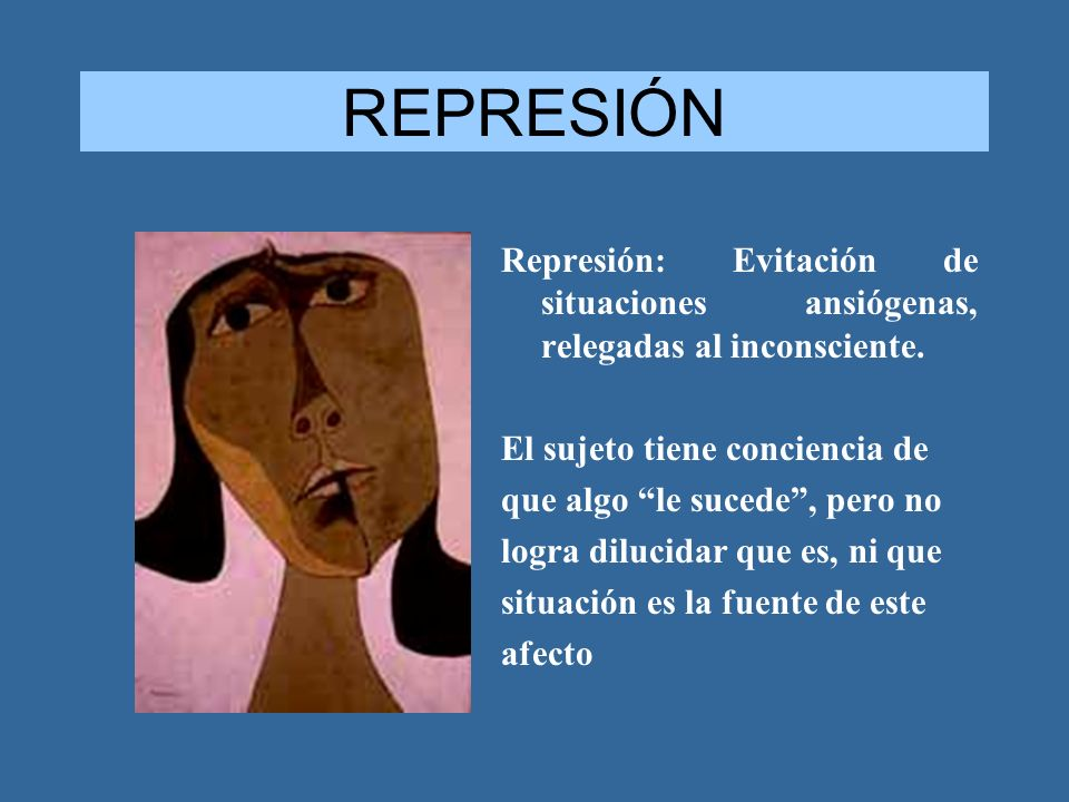 REPRESIÓN Represión: Evitación de situaciones ansiógenas, relegadas al inconsciente. El sujeto tiene conciencia de.