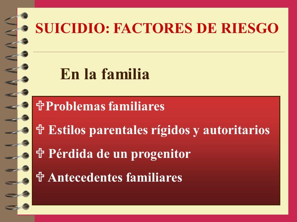 En la familia SUICIDIO: FACTORES DE RIESGO Problemas familiares