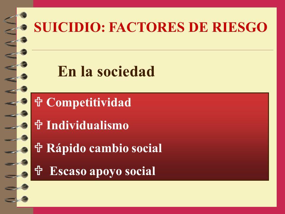 En la sociedad SUICIDIO: FACTORES DE RIESGO  Competitividad