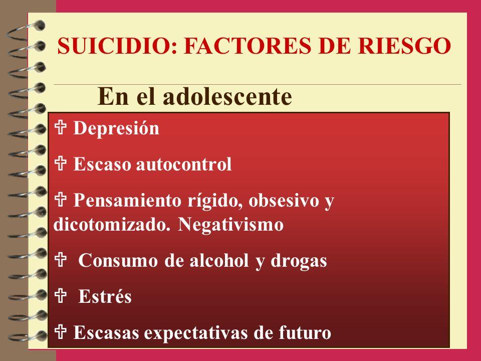 En el adolescente SUICIDIO: FACTORES DE RIESGO  Depresión