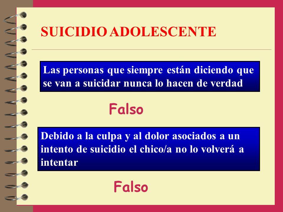 SUICIDIO ADOLESCENTE Falso Falso