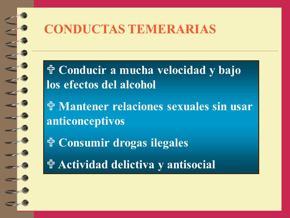 CONDUCTAS TEMERARIAS Conducir a mucha velocidad y bajo los efectos del alcohol.  Mantener relaciones sexuales sin usar anticonceptivos.