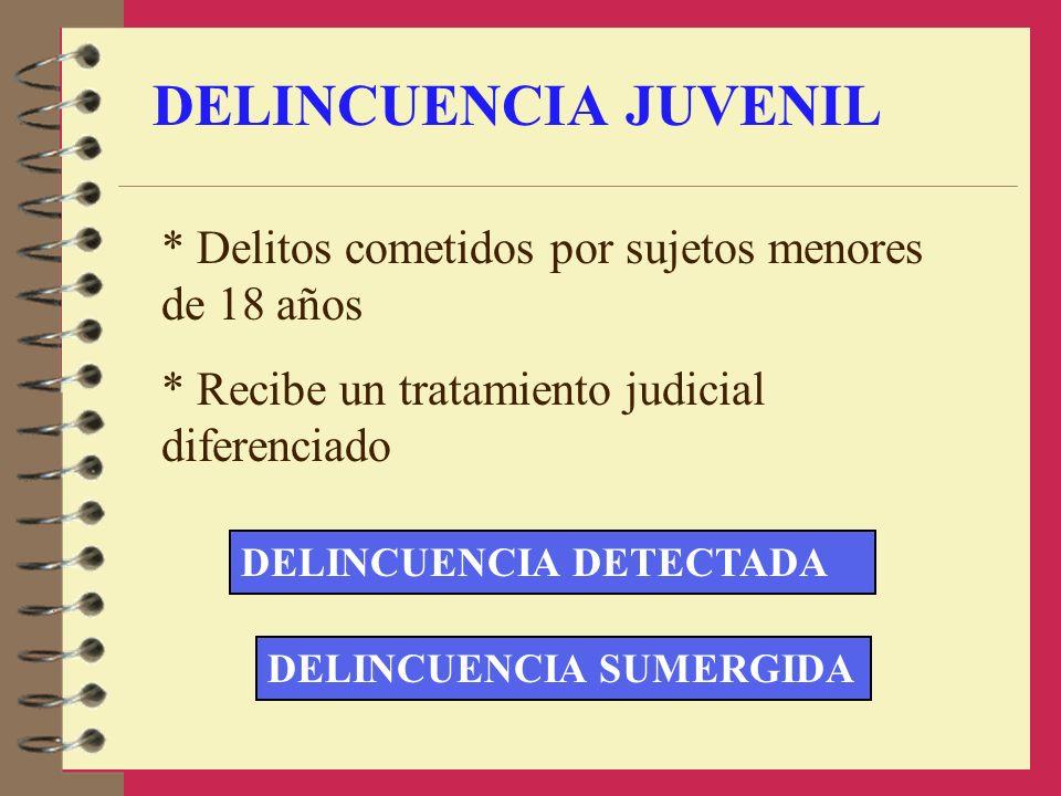 DELINCUENCIA JUVENIL * Delitos cometidos por sujetos menores de 18 años. * Recibe un tratamiento judicial diferenciado.