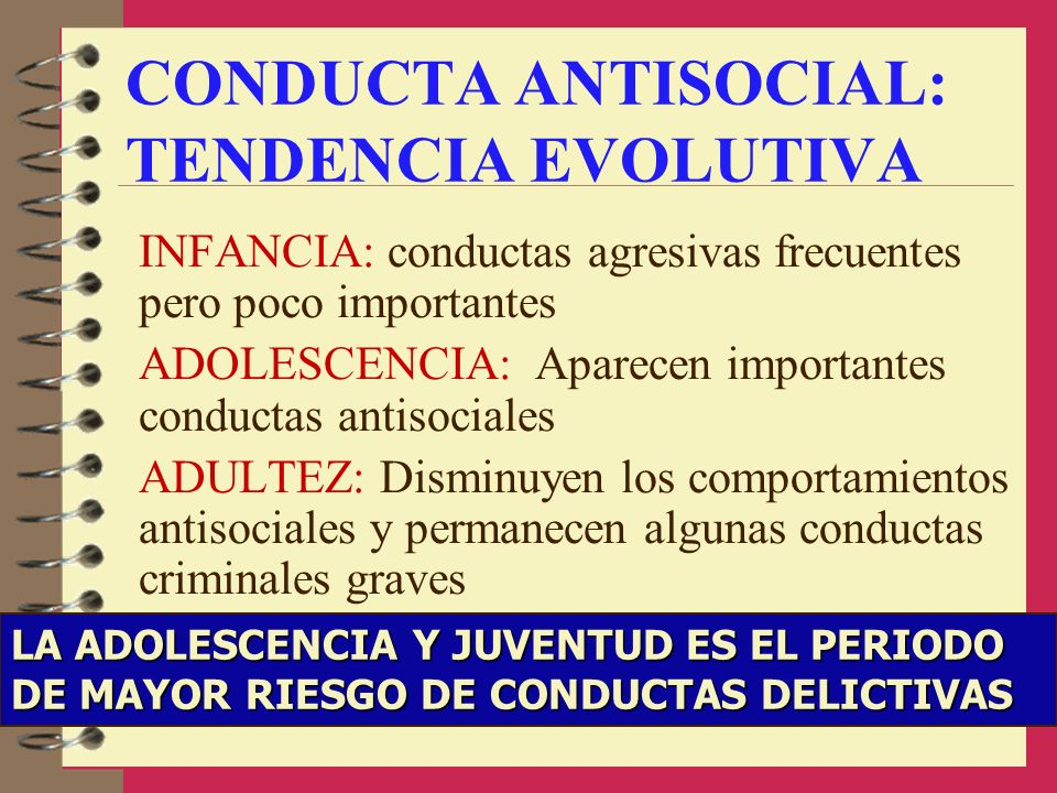 CONDUCTA ANTISOCIAL: TENDENCIA EVOLUTIVA