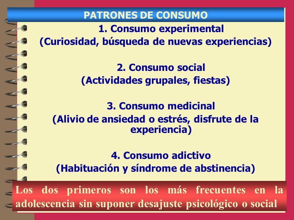 PATRONES DE CONSUMO 1. Consumo experimental. (Curiosidad, búsqueda de nuevas experiencias) 2. Consumo social.