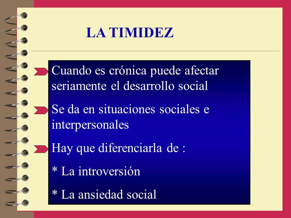 LA TIMIDEZ Cuando es crónica puede afectar seriamente el desarrollo social. Se da en situaciones sociales e interpersonales.