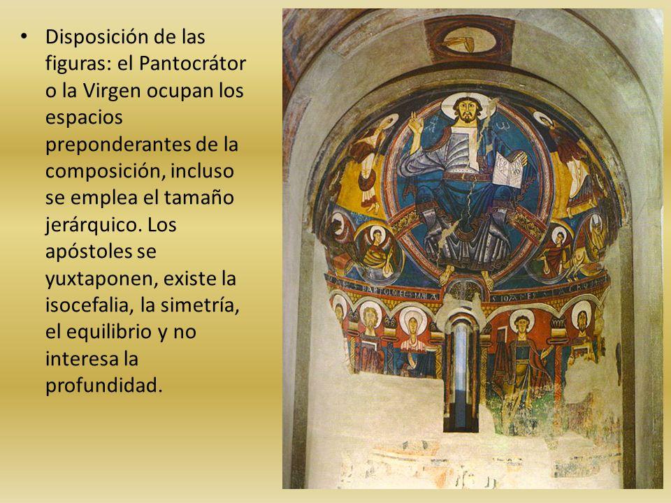Disposición de las figuras: el Pantocrátor o la Virgen ocupan los espacios preponderantes de la composición, incluso se emplea el tamaño jerárquico.