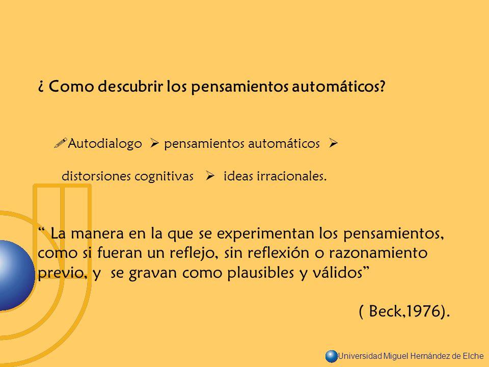 ¿ Como descubrir los pensamientos automáticos