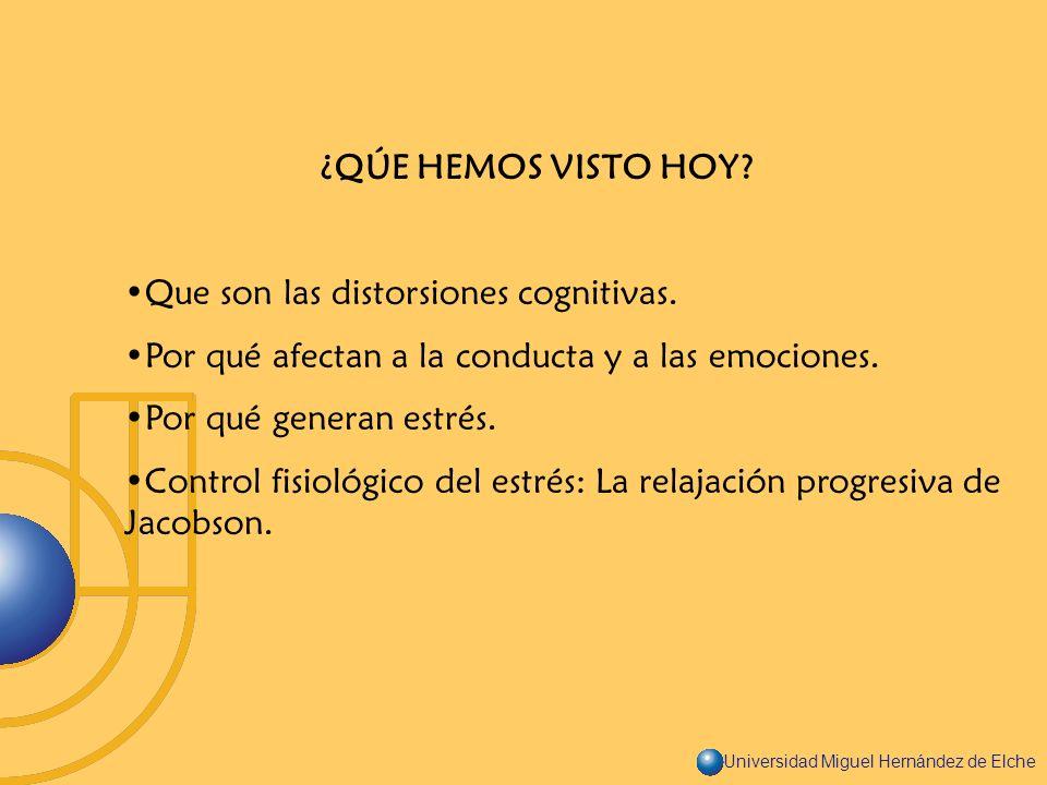 ¿QÚE HEMOS VISTO HOY Que son las distorsiones cognitivas. Por qué afectan a la conducta y a las emociones.