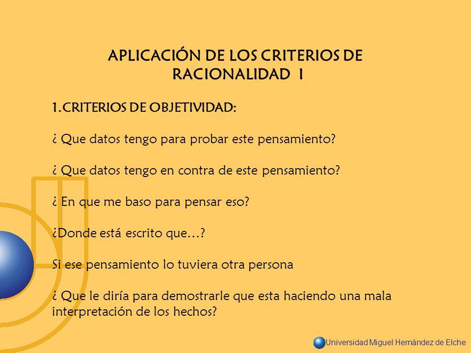 APLICACIÓN DE LOS CRITERIOS DE