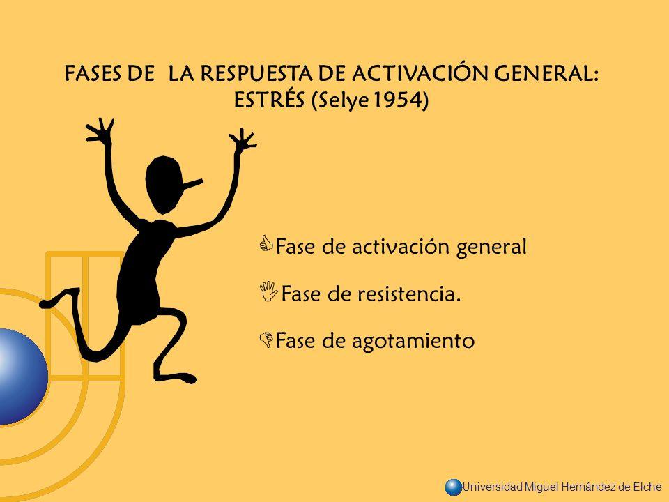 FASES DE LA RESPUESTA DE ACTIVACIÓN GENERAL: ESTRÉS (Selye 1954)