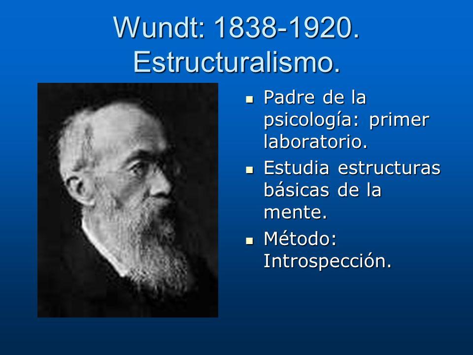Wundt: 1838-1920. Estructuralismo.