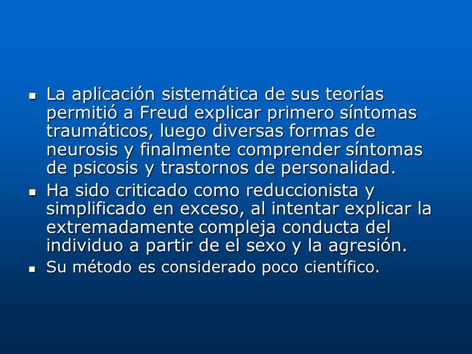 La aplicación sistemática de sus teorías permitió a Freud explicar primero síntomas traumáticos, luego diversas formas de neurosis y finalmente comprender síntomas de psicosis y trastornos de personalidad.