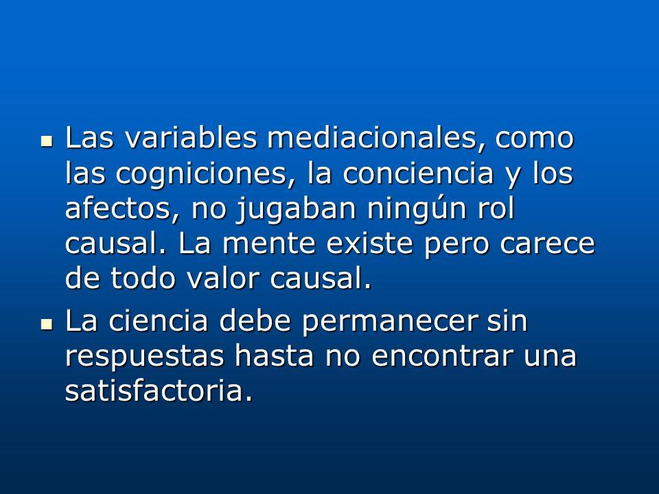 Las variables mediacionales, como las cogniciones, la conciencia y los afectos, no jugaban ningún rol causal. La mente existe pero carece de todo valor causal.