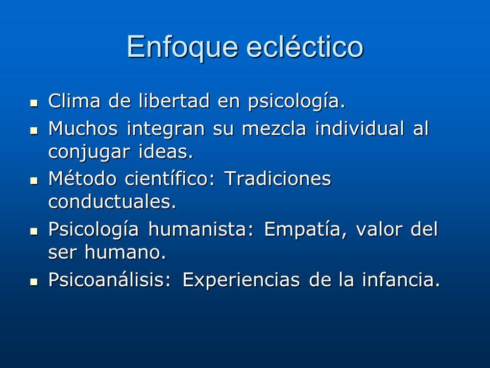 Enfoque ecléctico Clima de libertad en psicología.
