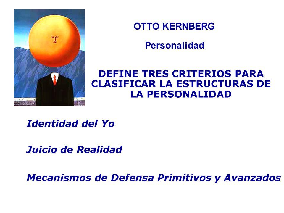 OTTO KERNBERG Personalidad. DEFINE TRES CRITERIOS PARA CLASIFICAR LA ESTRUCTURAS DE LA PERSONALIDAD.