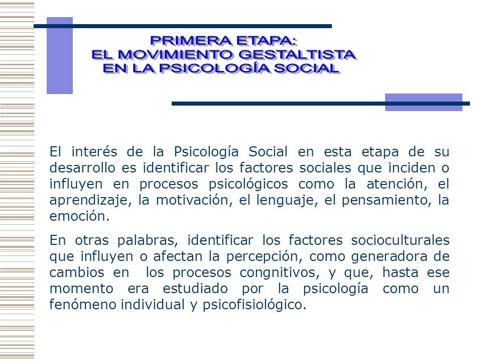 EL MOVIMIENTO GESTALTISTA EN LA PSICOLOGÍA SOCIAL