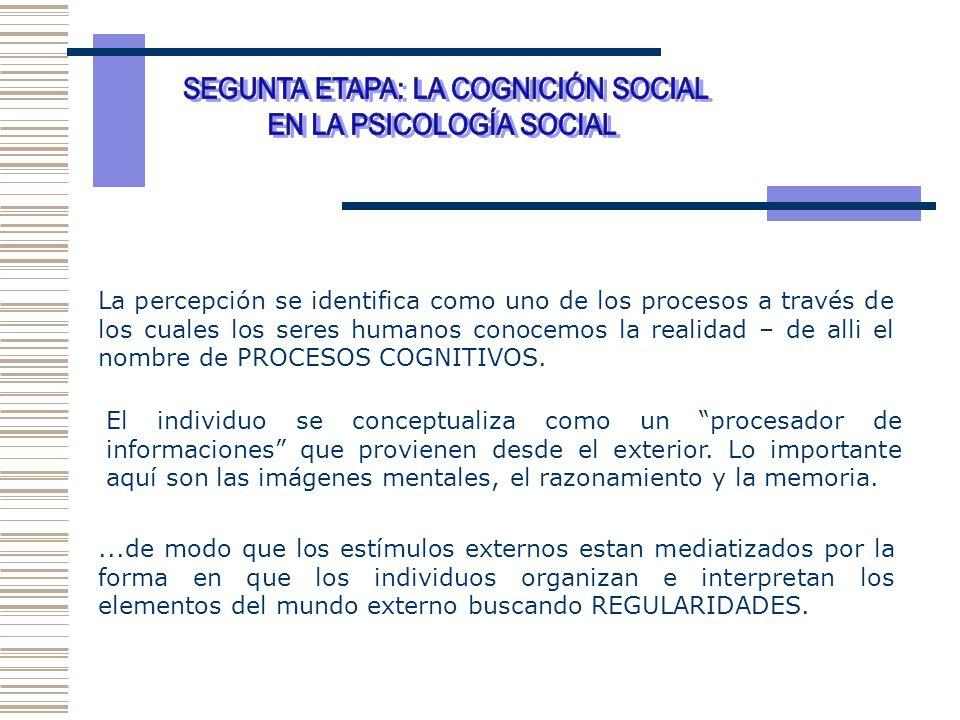 SEGUNTA ETAPA: LA COGNICIÓN SOCIAL EN LA PSICOLOGÍA SOCIAL