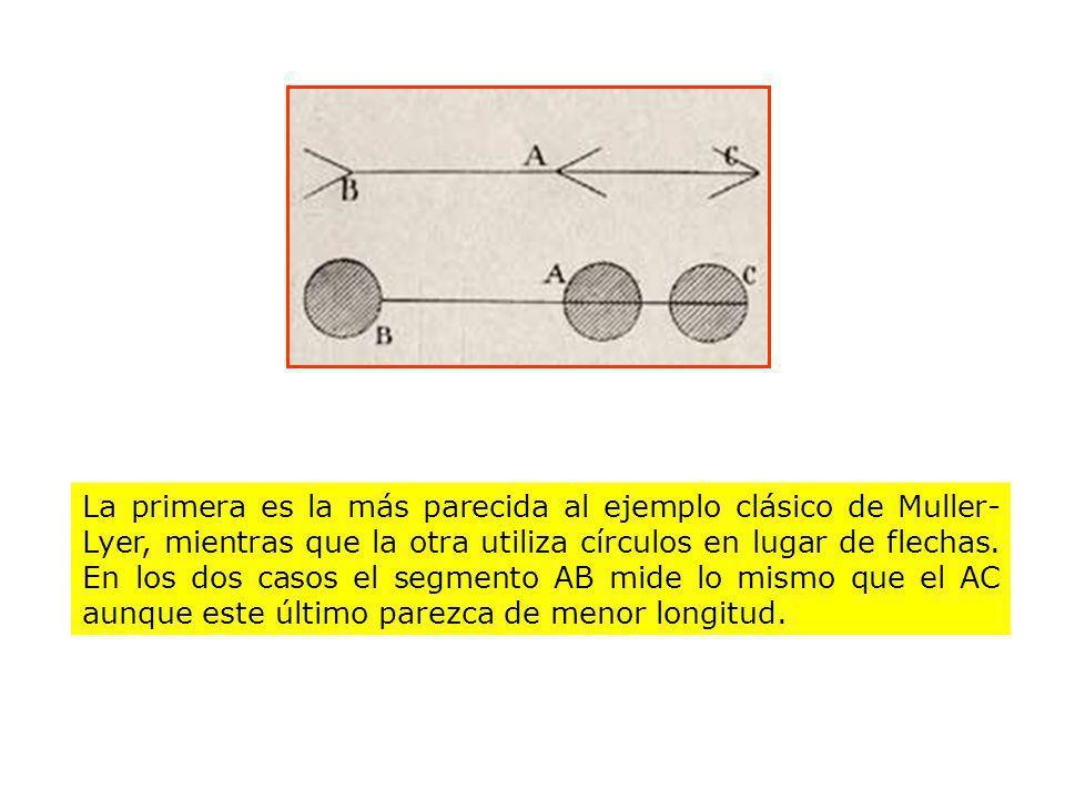 La primera es la más parecida al ejemplo clásico de Muller-Lyer, mientras que la otra utiliza círculos en lugar de flechas.
