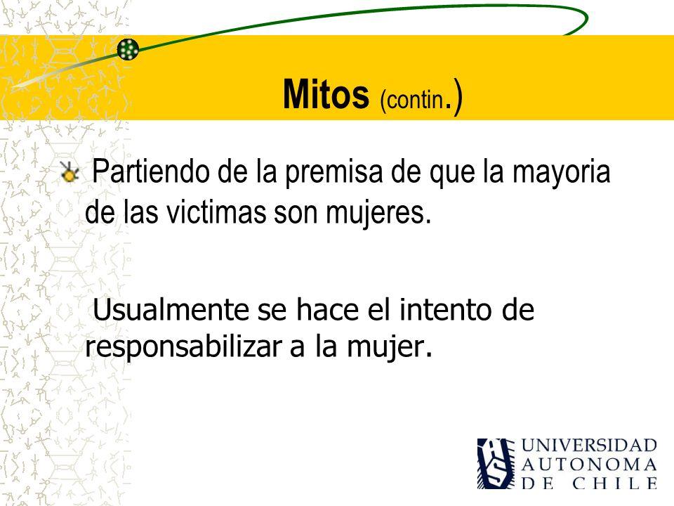 Mitos (contin.)Partiendo de la premisa de que la mayoria de las victimas son mujeres.