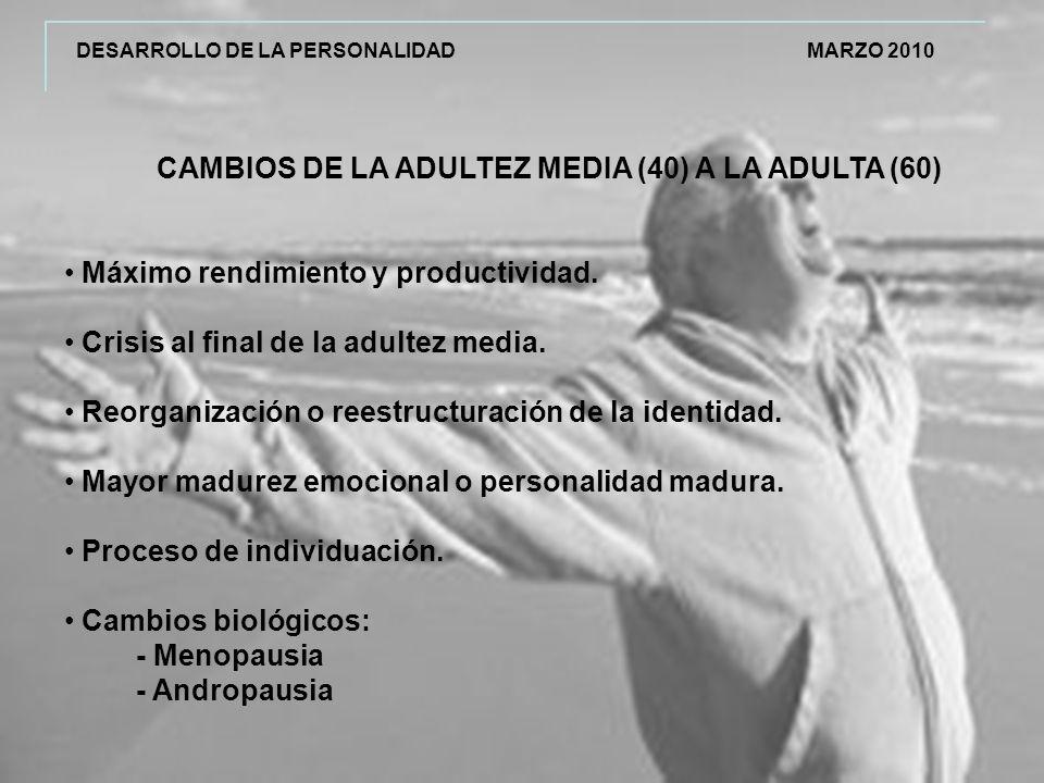 CAMBIOS DE LA ADULTEZ MEDIA (40) A LA ADULTA (60)