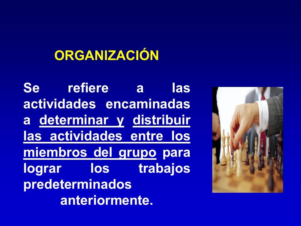ORGANIZACIÓN Se refiere a las actividades encaminadas a determinar y distribuir las actividades entre los miembros del grupo para lograr los trabajos predeterminados anteriormente.