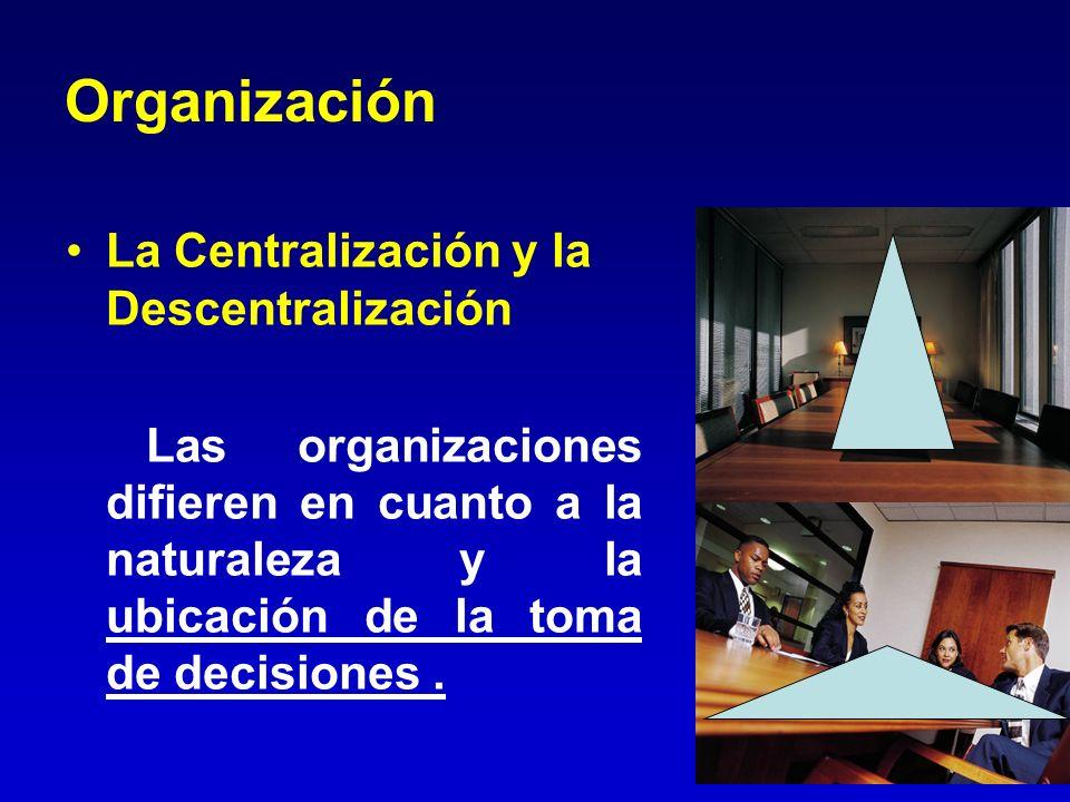 Organización La Centralización y la Descentralización
