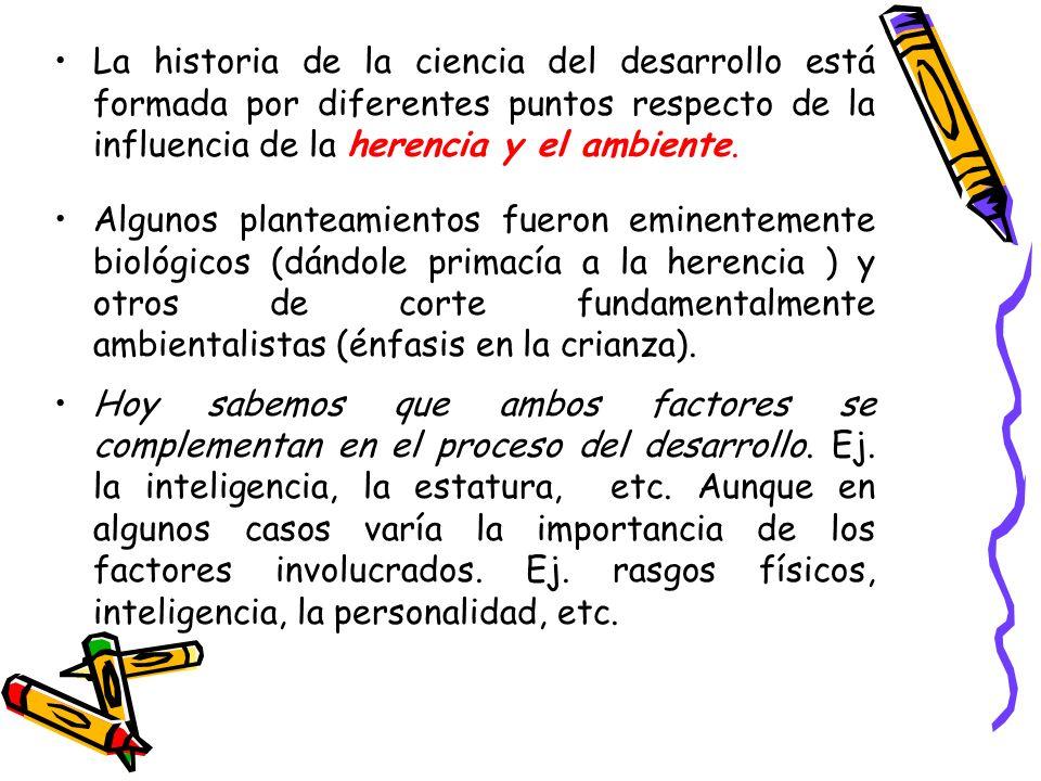 La historia de la ciencia del desarrollo está formada por diferentes puntos respecto de la influencia de la herencia y el ambiente.