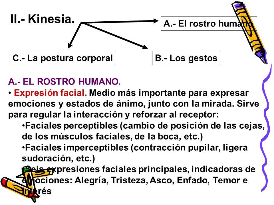 II.- Kinesia. A.- El rostro humano C.- La postura corporal