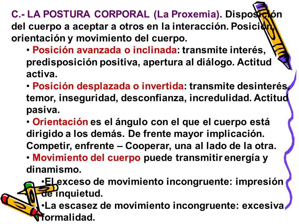 C. - LA POSTURA CORPORAL (La Proxemia)