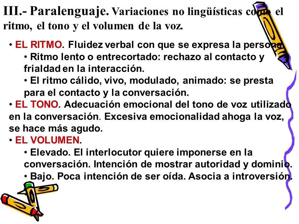 III.- Paralenguaje. Variaciones no lingüísticas como el ritmo, el tono y el volumen de la voz.