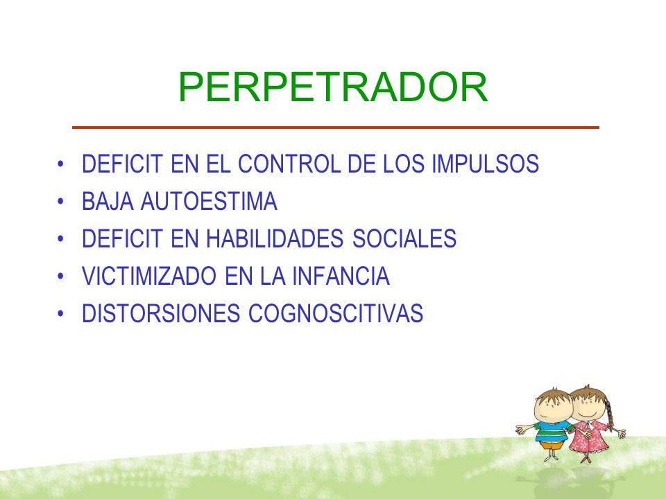 PERPETRADOR DEFICIT EN EL CONTROL DE LOS IMPULSOS BAJA AUTOESTIMA