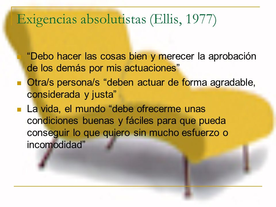 Exigencias absolutistas (Ellis, 1977)