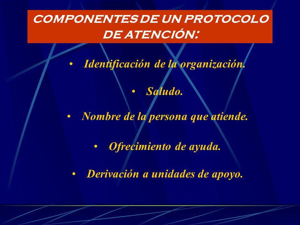 COMPONENTES DE UN PROTOCOLO DE ATENCIÓN:
