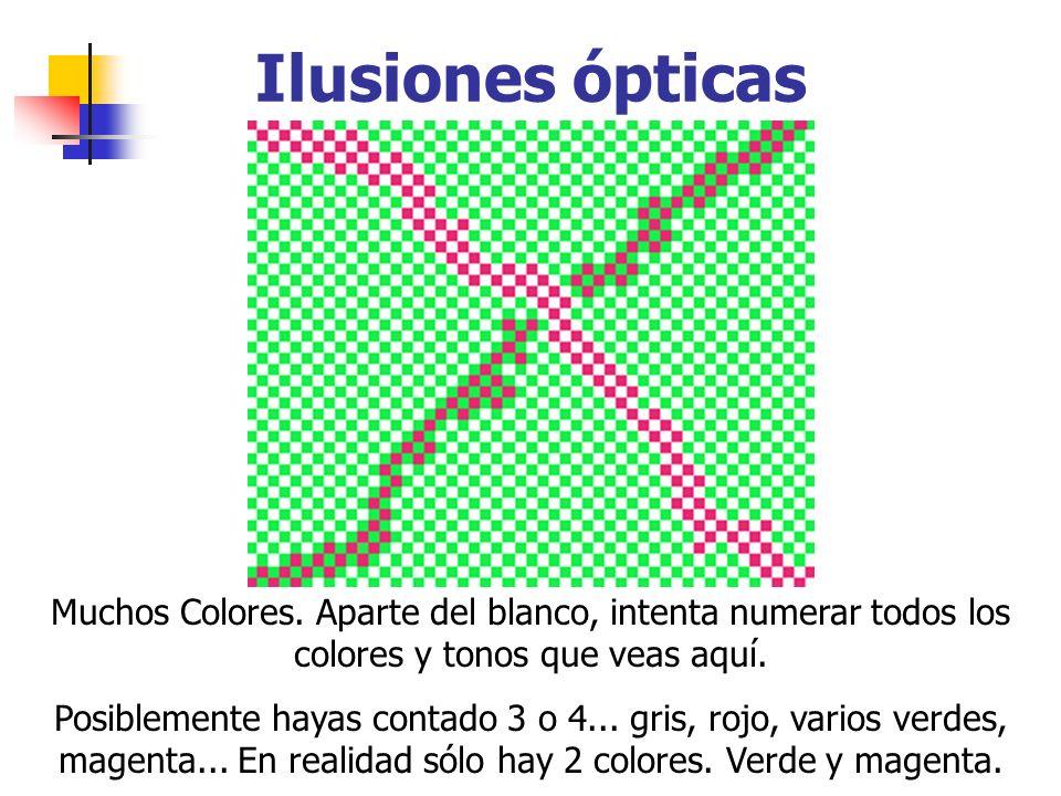 Ilusiones ópticas Muchos Colores. Aparte del blanco, intenta numerar todos los colores y tonos que veas aquí.
