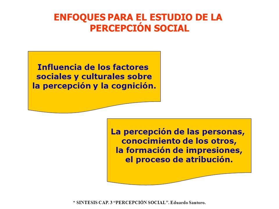 ENFOQUES PARA EL ESTUDIO DE LA PERCEPCIÓN SOCIAL