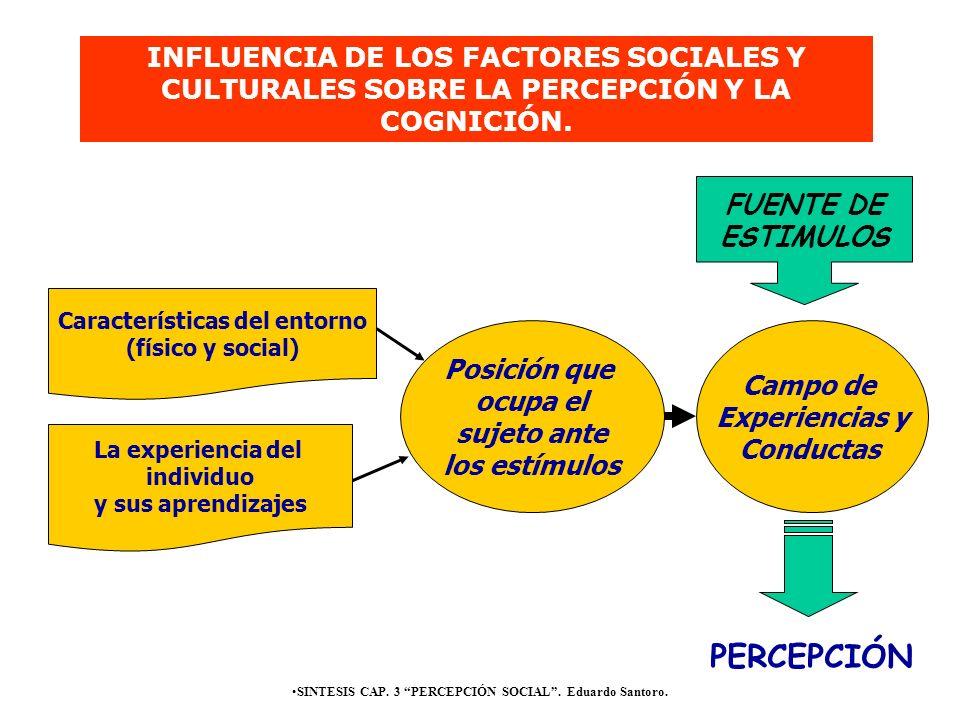 INFLUENCIA DE LOS FACTORES SOCIALES Y CULTURALES SOBRE LA PERCEPCIÓN Y LA COGNICIÓN.