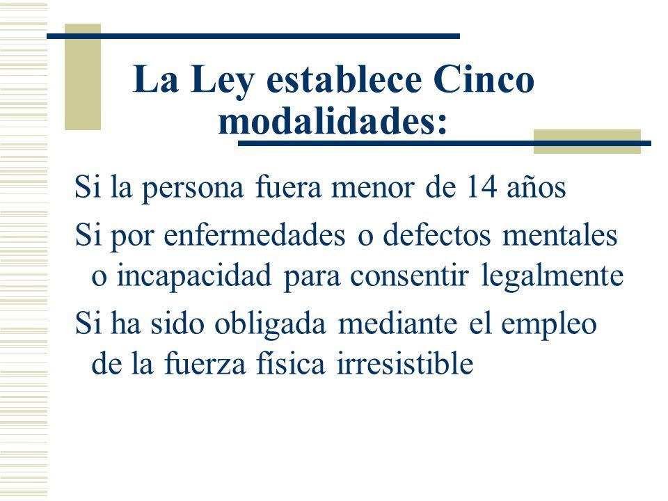 La Ley establece Cinco modalidades: