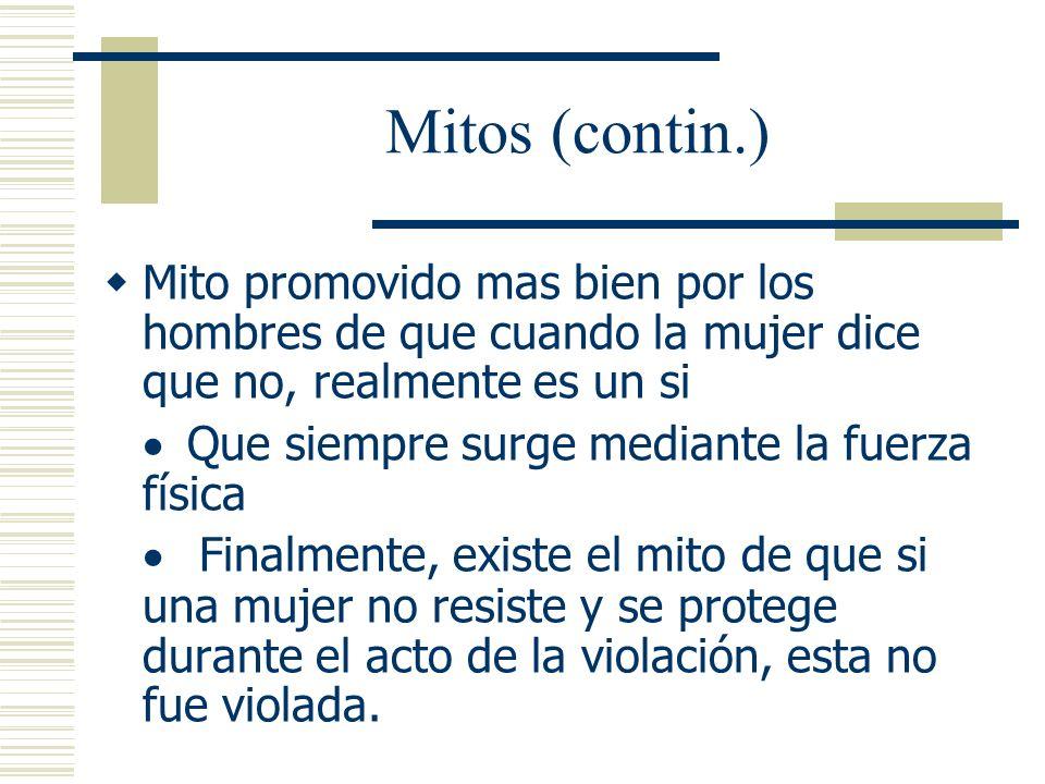 Mitos (contin.) Mito promovido mas bien por los hombres de que cuando la mujer dice que no, realmente es un si.