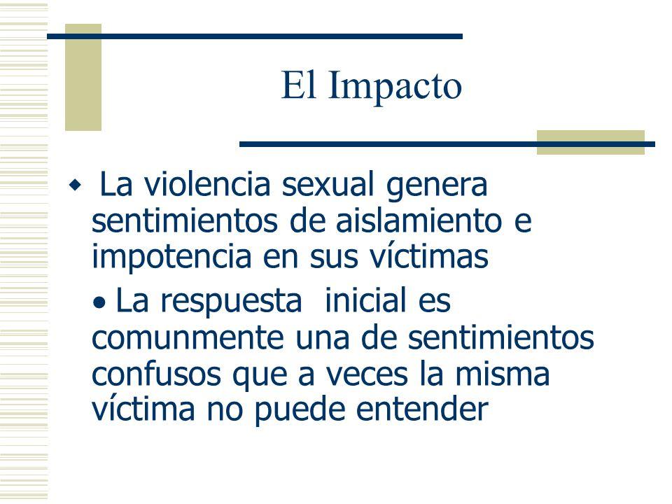 El Impacto La violencia sexual genera sentimientos de aislamiento e impotencia en sus víctimas.