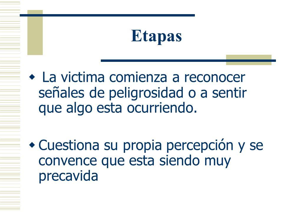 Etapas La victima comienza a reconocer señales de peligrosidad o a sentir que algo esta ocurriendo.